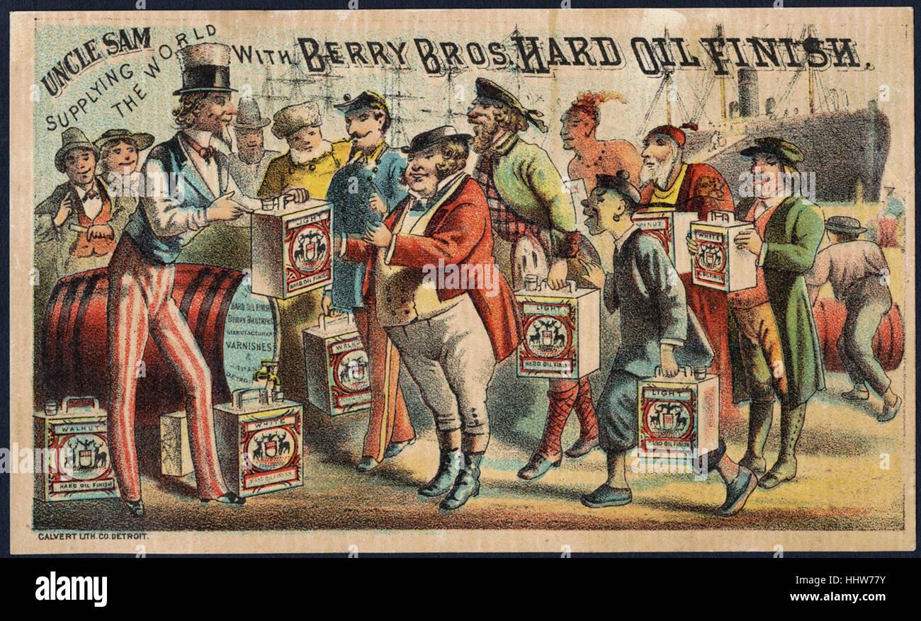 L'Oncle Sam l'approvisionnement du monde avec Berry Bros. huile dur la fin. (Avant) - Accessoires de maison Photo Stock