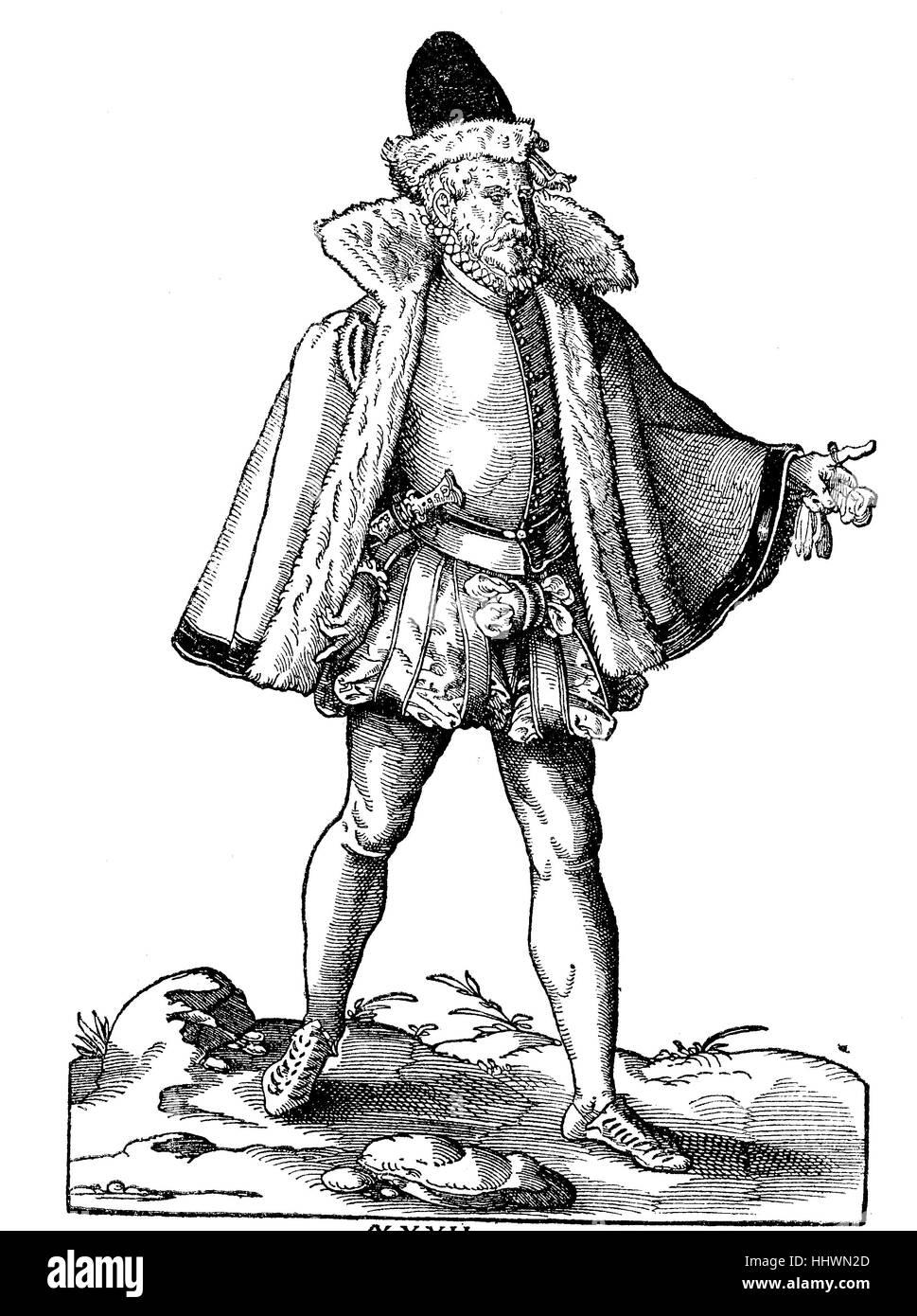 Les vêtements et les costumes des citoyens respectables et les marchands à Meissen, gravures sur bois Photo Stock