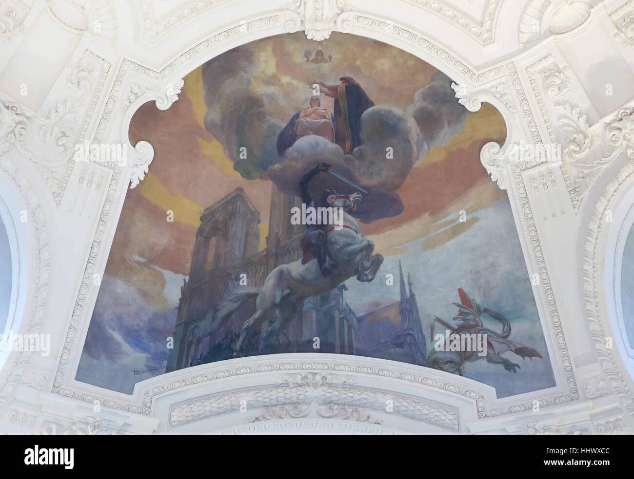 Peinture Plafond Allégorique De La Mystique Ou Lart Chrétien 1903
