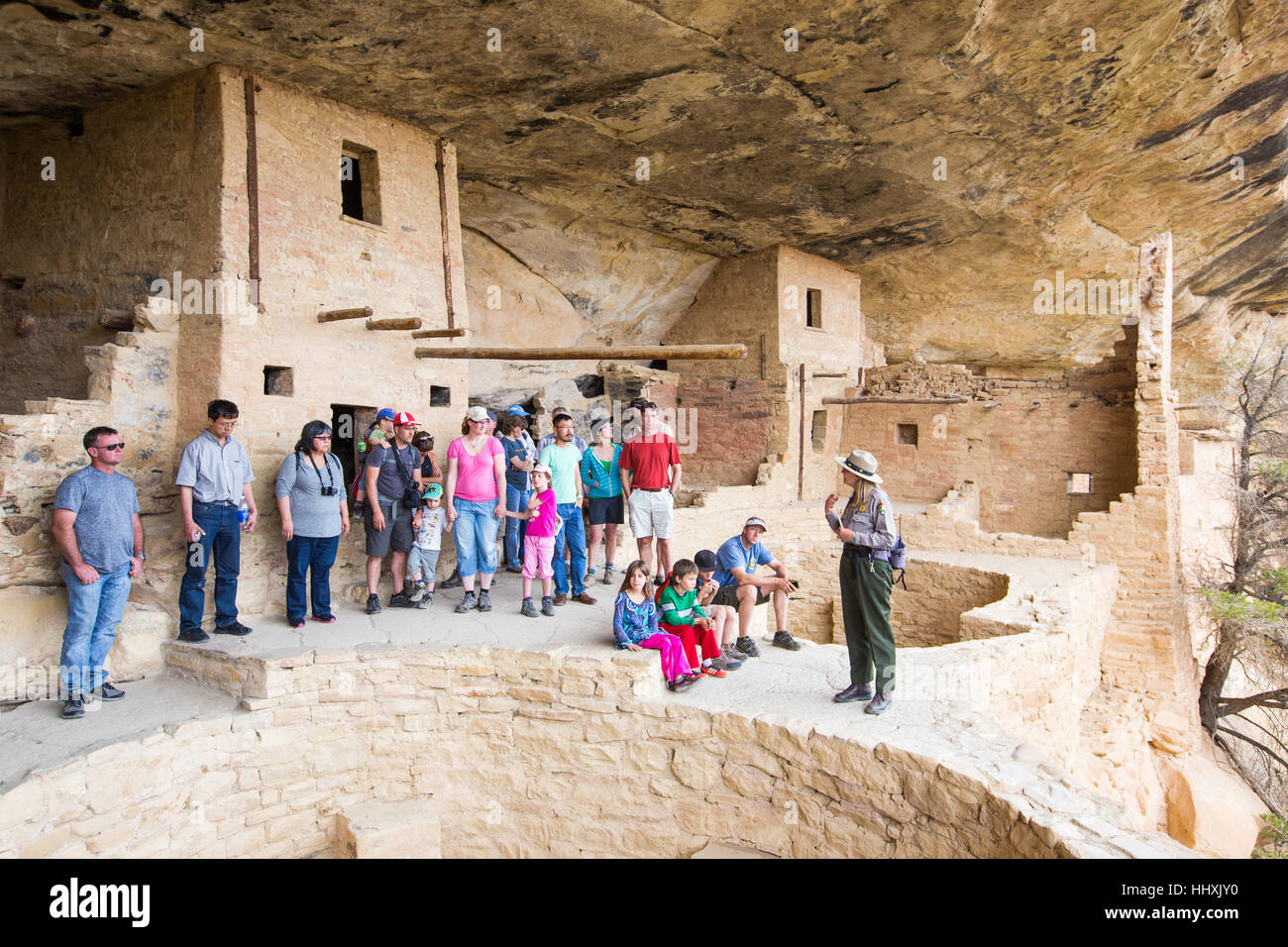 Balcon Chambre logement falaise, Mesa Verde National Park, New Mexico, USA Photo Stock