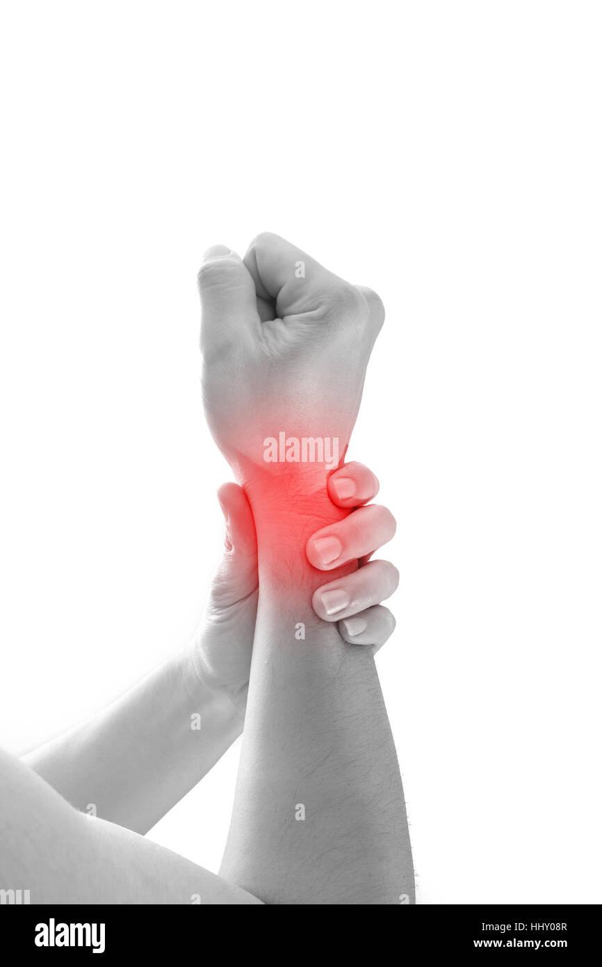 La douleur au poignet de l'homme, homme concept holding hand à repérer des douleurs au poignet. Photo Stock