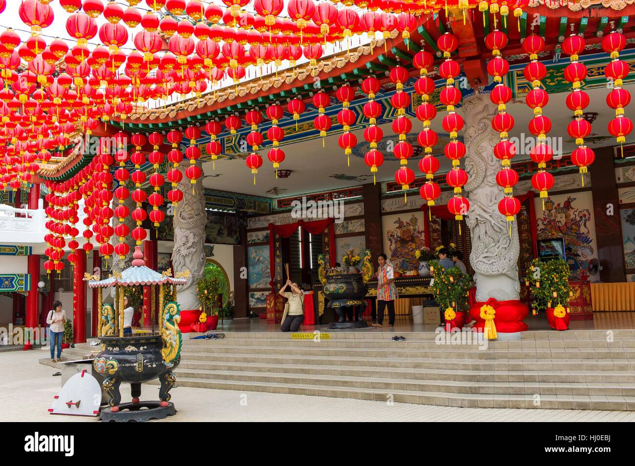 Kuala Lumpur, Malaisie. 21 Jan, 2017. Vue générale du Temple de Thean Hou avant le Nouvel An lunaire du Photo Stock