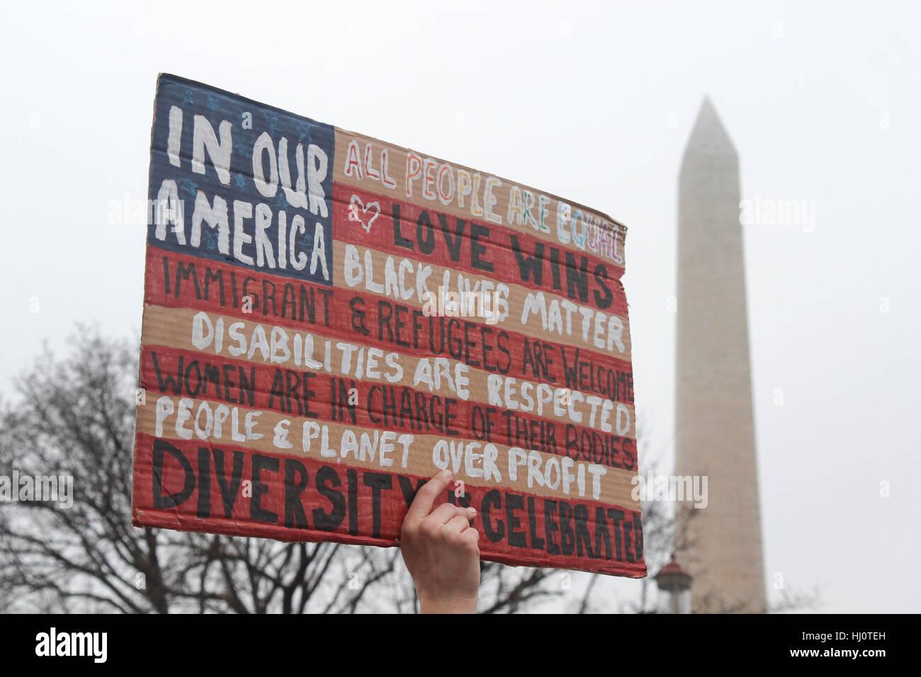 Washington, DC, United States. 21 Jan, 2017. La Marche des femmes sur l'État de Washington. Crédit: Susan Pease/Alamy Banque D'Images