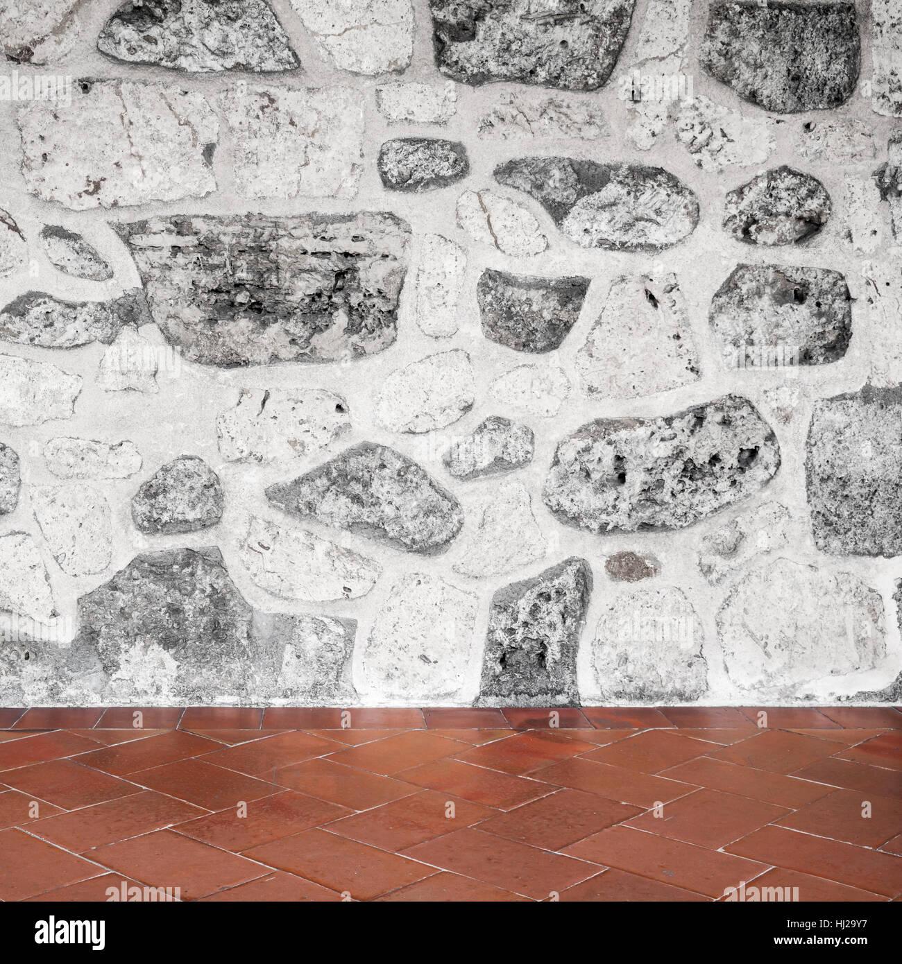 Résumé Contexte intérieur carré gris, mur en pierre et ...