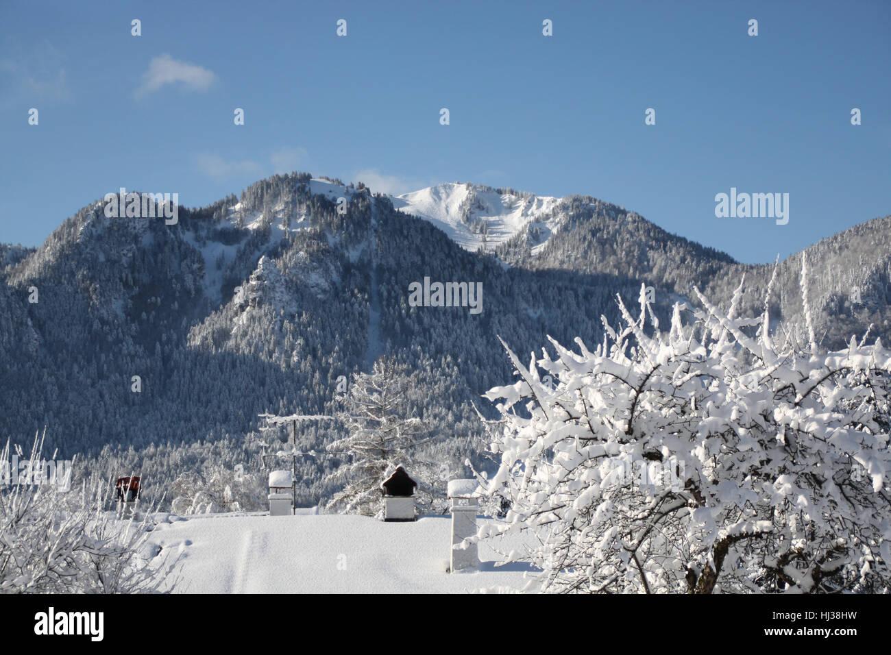 Église, région de ski, sports d'hiver, ferme, vente, communauté, village, marché Banque D'Images