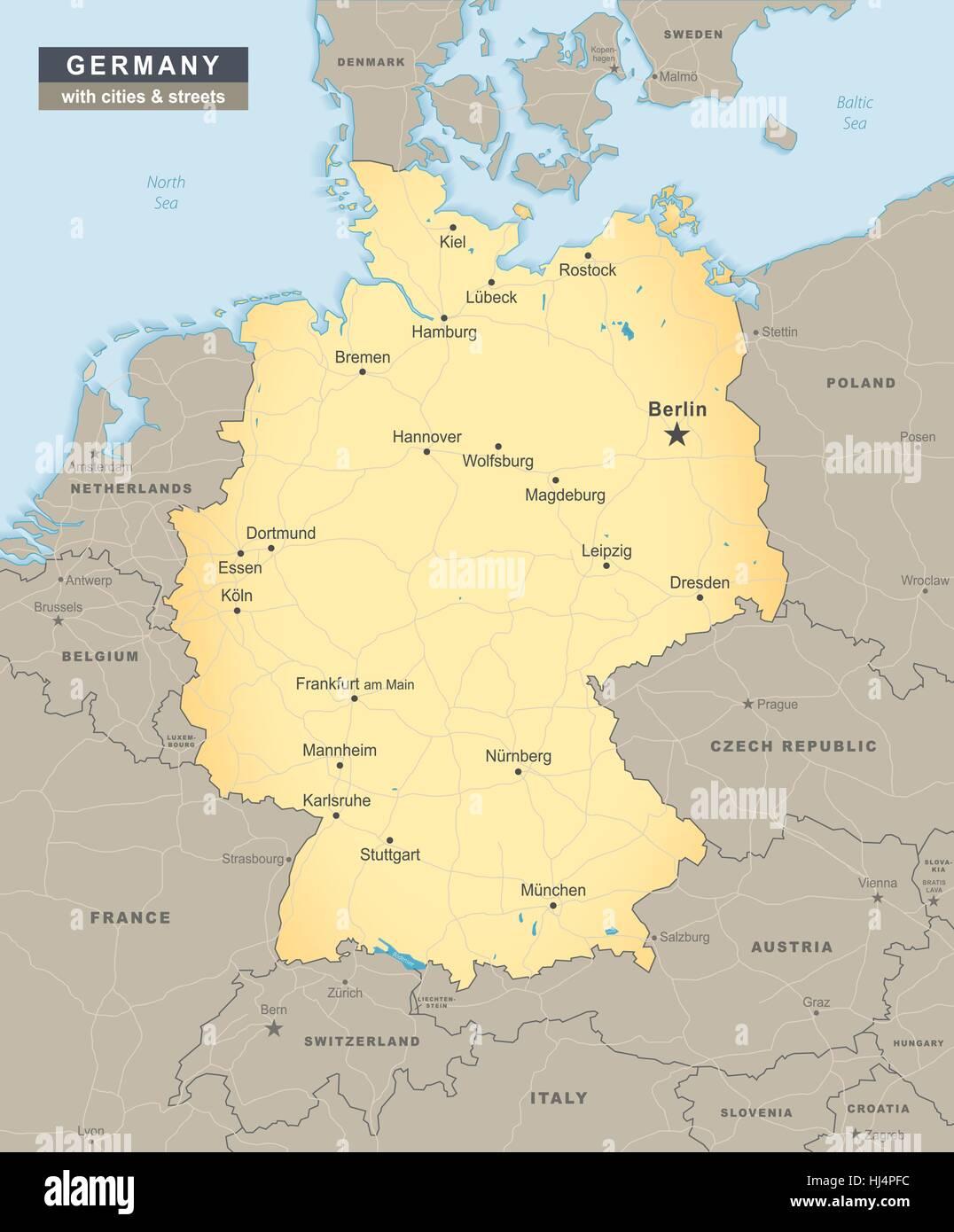 Carte de l'Allemagne sommaire avec des rues et des villes, y compris états voisins illustration Photo Stock
