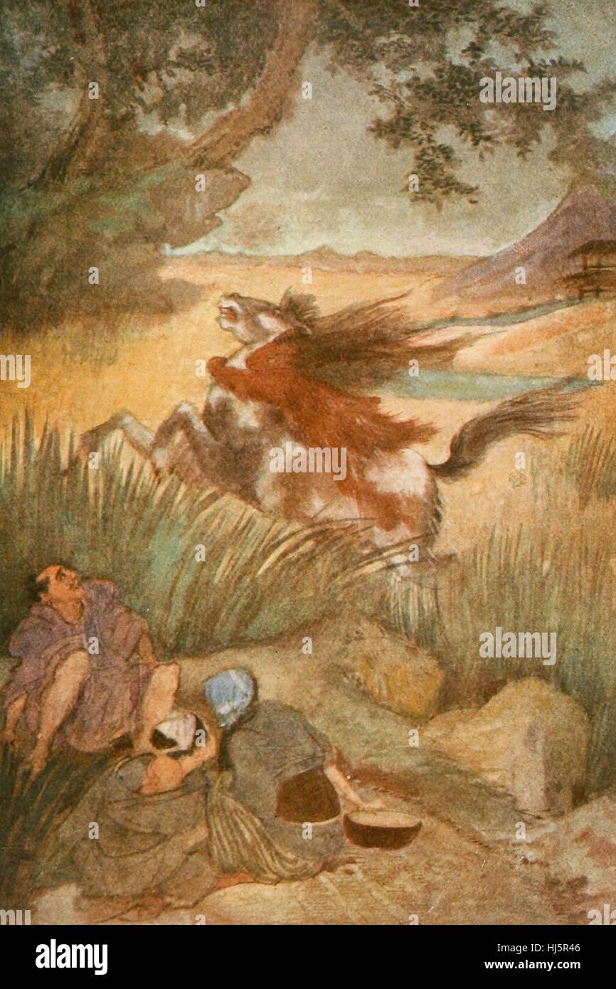 Le Kappa et sa victime, la Mythologie Japonaise Photo Stock