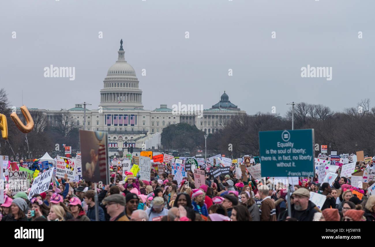Marche des femmes Washington DC Janvier 21,2017 Photo Stock