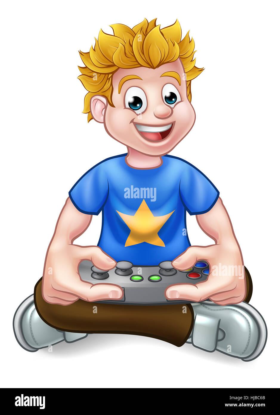 Un Dessin De Gamer S Amusant A Jouer Aux Jeux Video Photo Stock Alamy