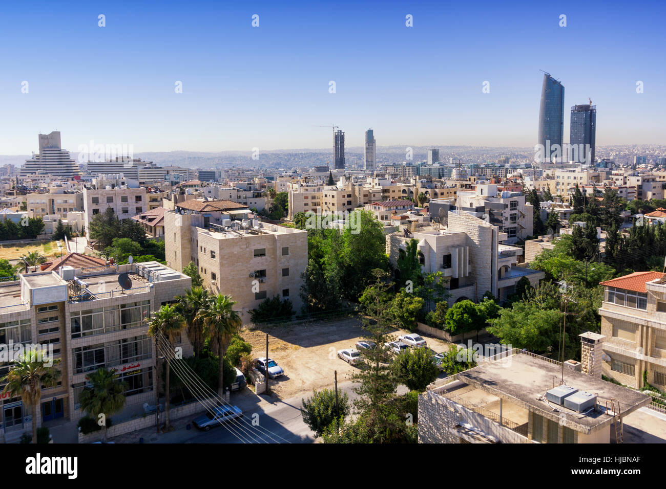 Vue sur la ville d'Amman, en Jordanie Photo Stock