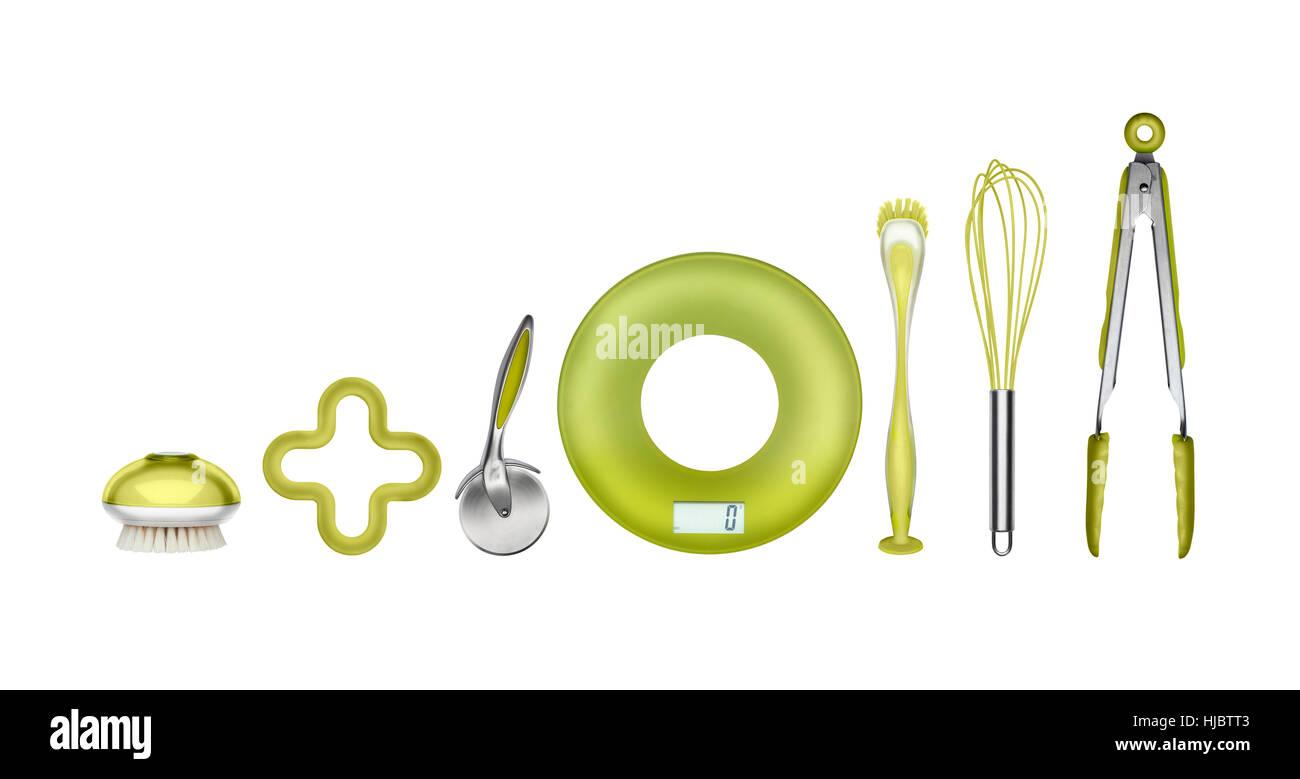 Des ustensiles de cuisine motif vert Présentation graphique Photo Stock