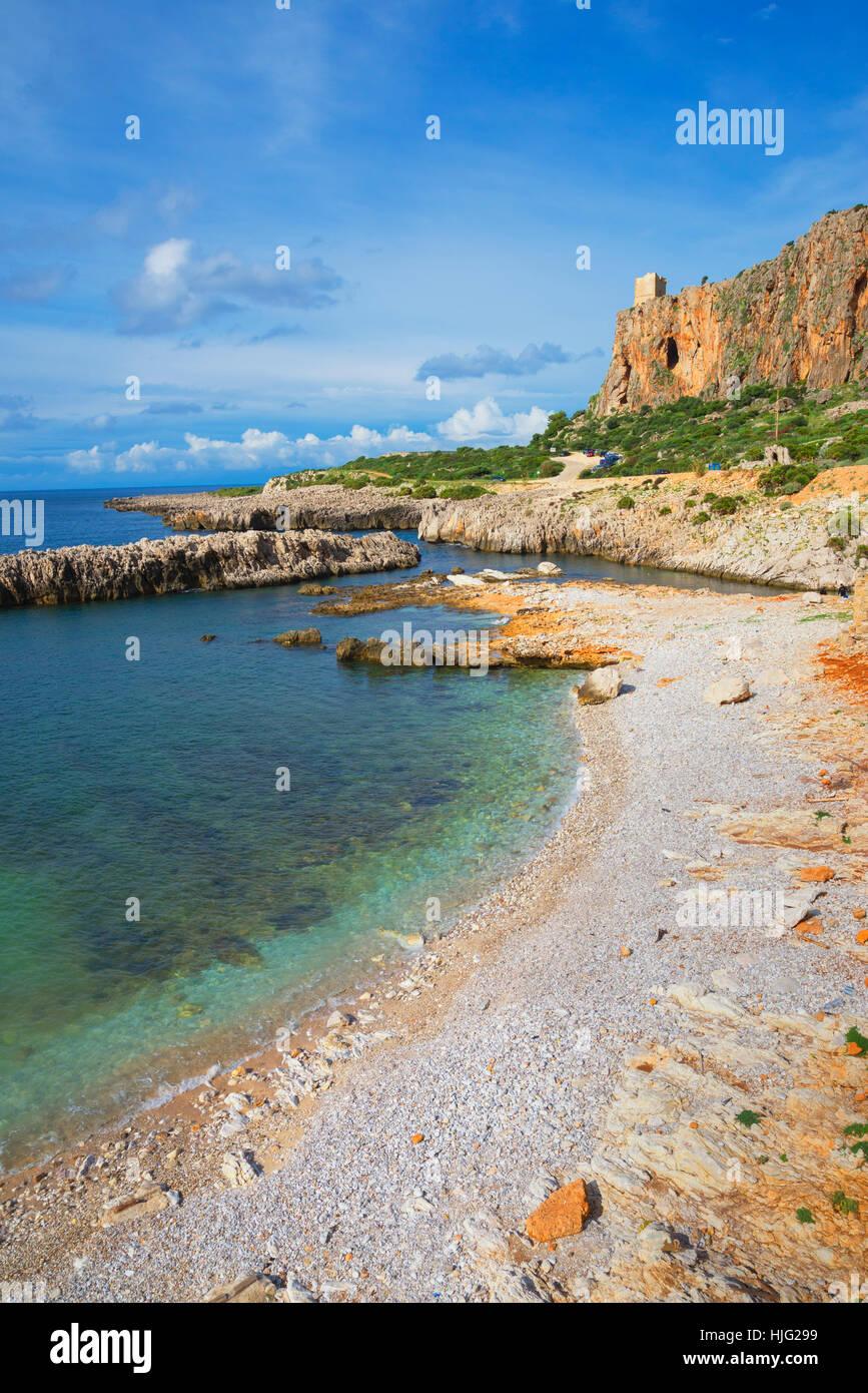 Plage Macari et le littoral, San Vito lo Capo, Sicile Photo Stock