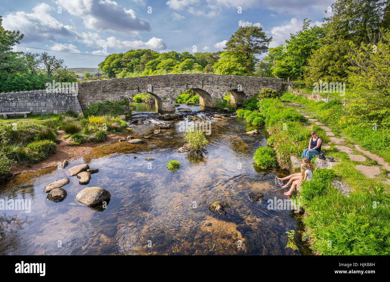 Grande Bretagne, sud-ouest de l'Angleterre, Devon, Dartmoor National Park, Postbridge, East River Dart Photo Stock