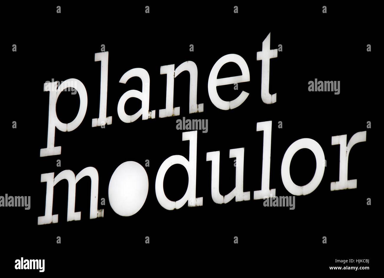 "Logo das der Marke ""PLANETE Modulor"", Berlin. Photo Stock"