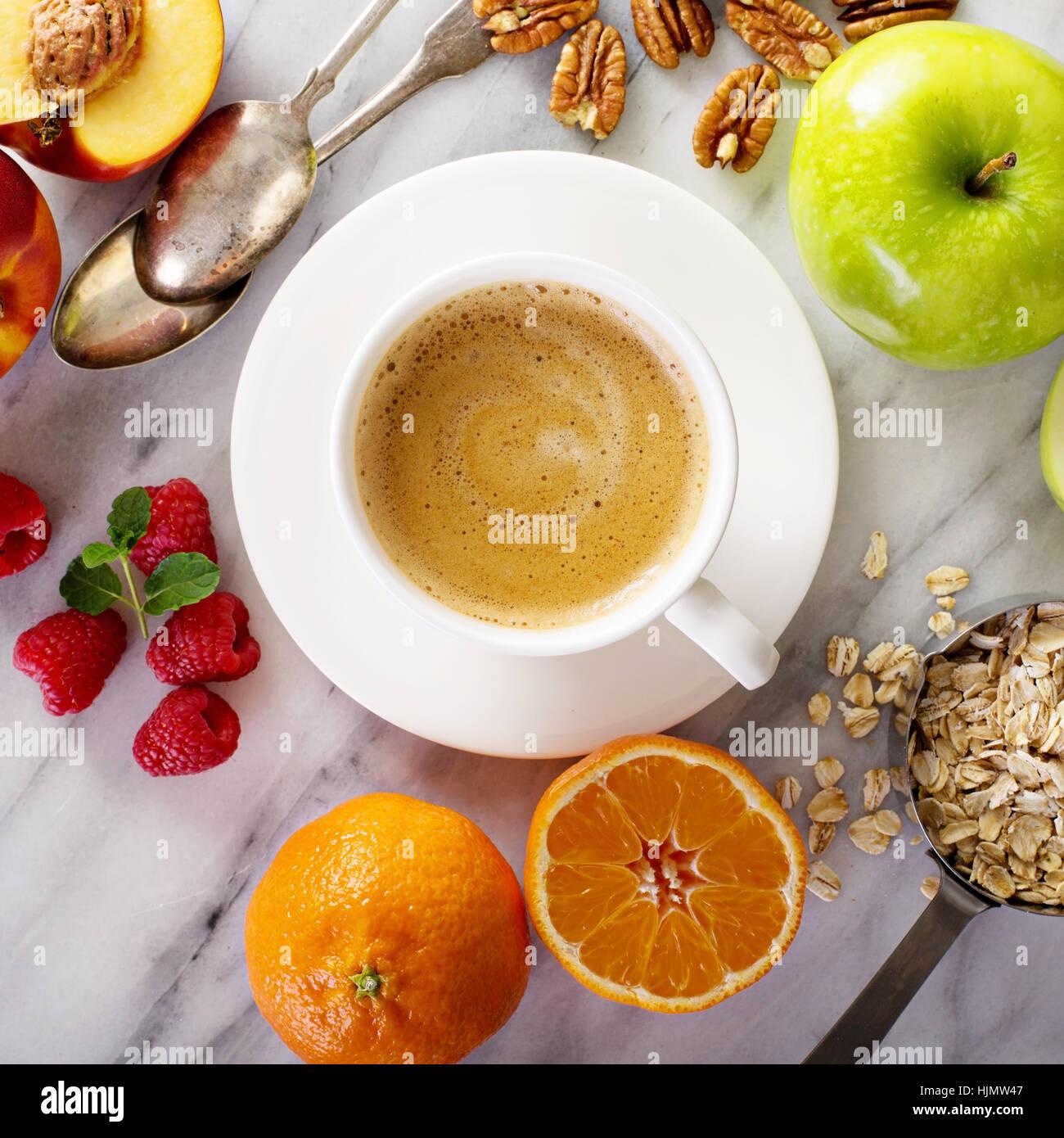 Les ingrédients du petit-déjeuner sain Photo Stock