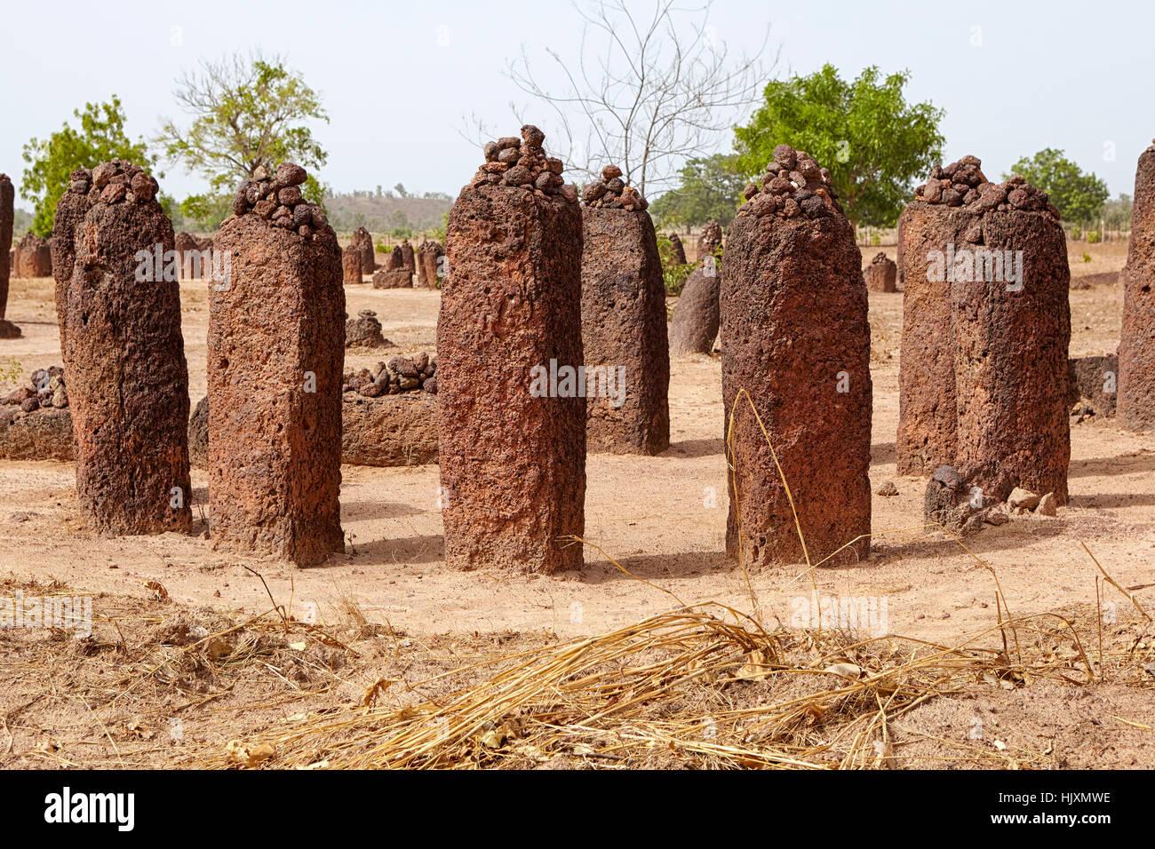 Wassu cercles de pierres, Site du patrimoine mondial de l'UNESCO, de la Gambie, Afrique Photo Stock