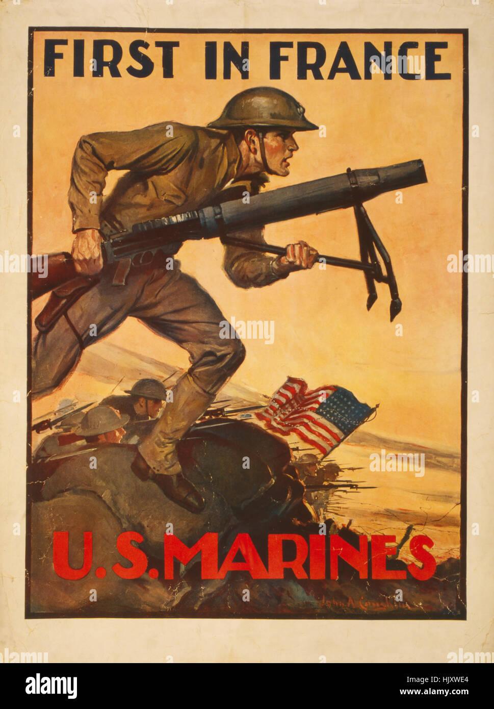 """Marines américains à lutter contre """"le premier en France, U.S. Marines', la Première Guerre mondiale affiche de Banque D'Images"""