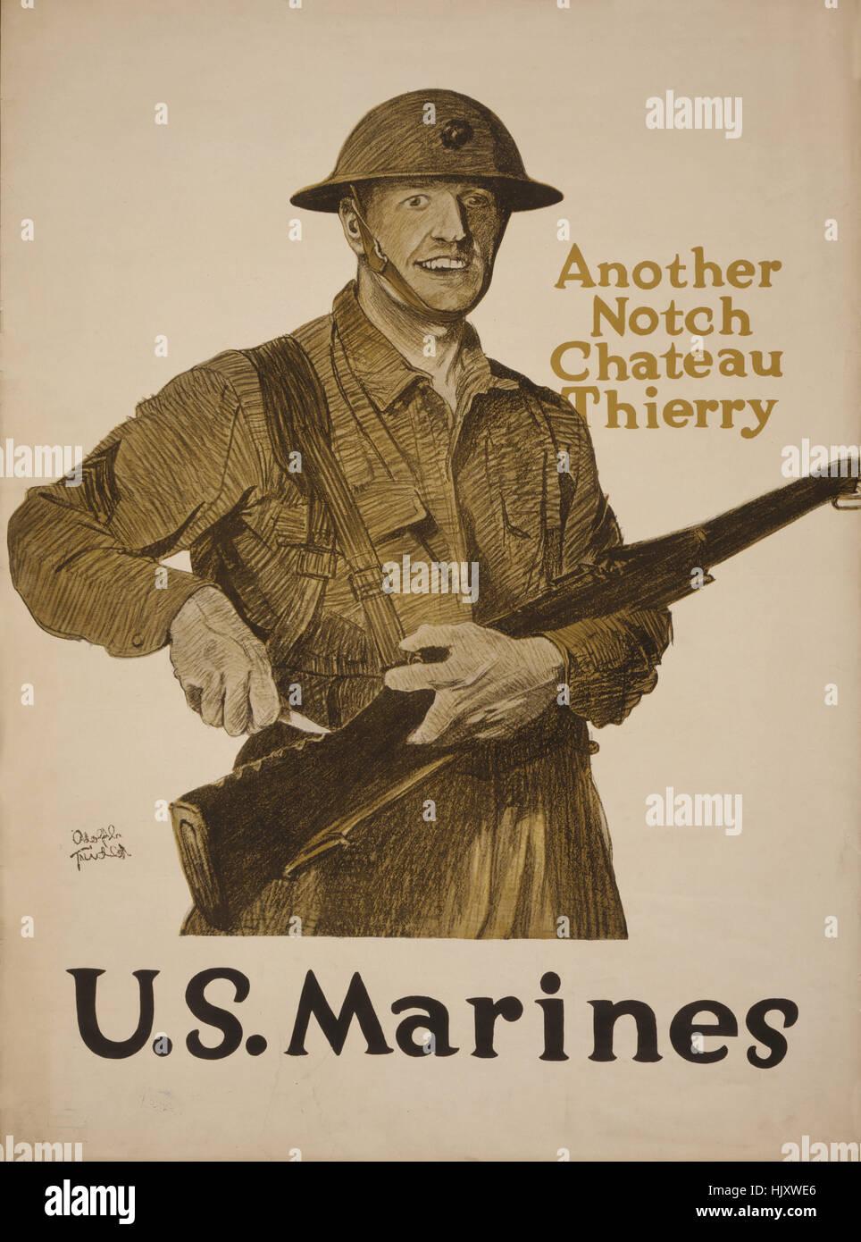 Sculpture Marine l'encoche dans le fusil, 'une autre entaille, Chateau Thierry, des Marines des États-Unis, la Première Banque D'Images