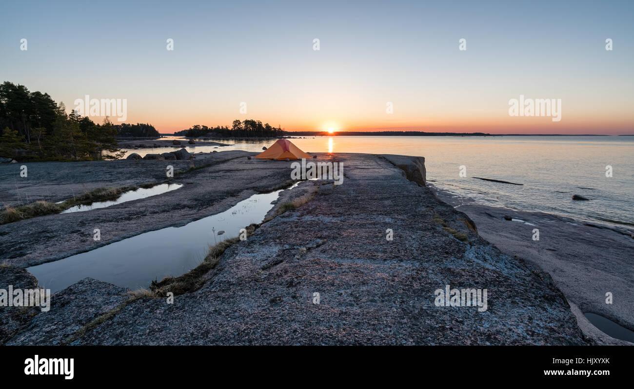 L'Aube à l'extrémité sud de l'Emäsalo, Porvoo, Finlande, Europe, UNION EUROPÉENNE Photo Stock