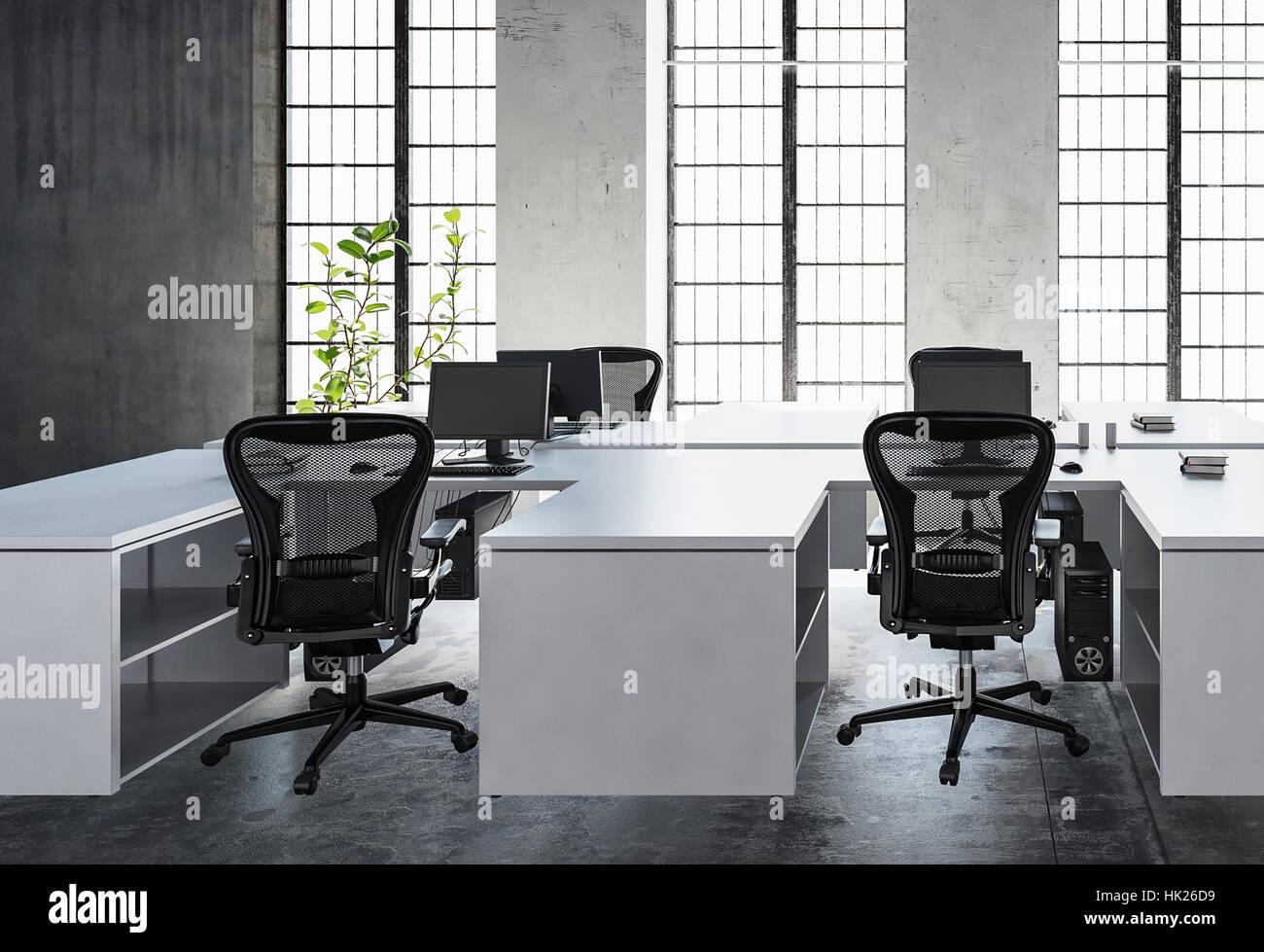 Espace de bureau moderne avec un bureau blanc vide murs de béton