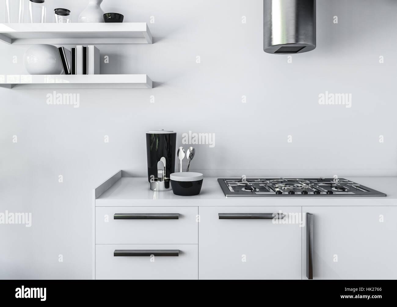 Cuisine Moderne Design Intérieur Minimaliste Concept, Du0027un Mobilier Blanc  Et Cuisinière à Gaz Avec Tuyau Brillant De Hotte, Contre Mur Blanc. Le  Rendu 3d.