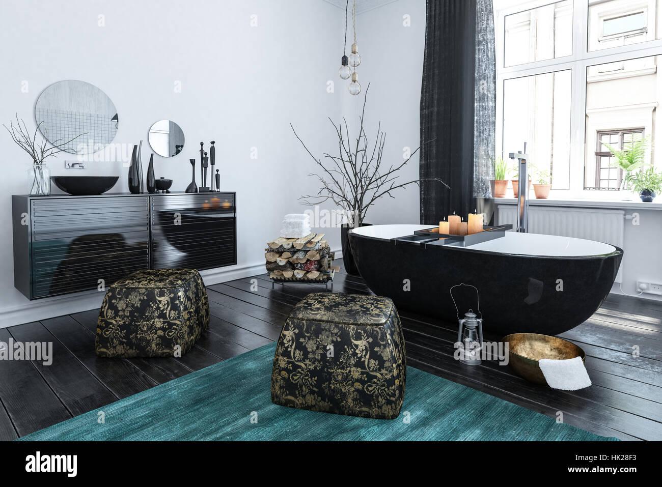 Salle de bains de style oriental élégant de laque noire, décor en ...