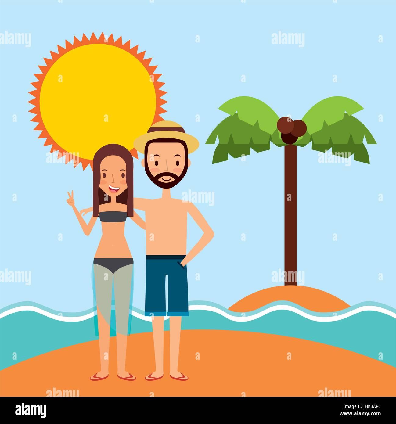 Couple Heureux Sur L Icône Dessin Animé Paysage Plage