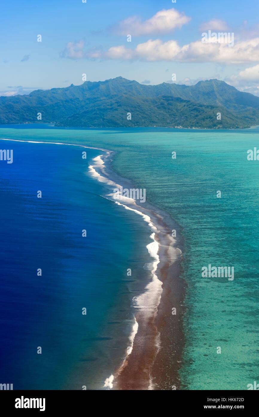 Reef dans les mers du sud, vue aérienne, Raiatea, Polynésie Française Photo Stock