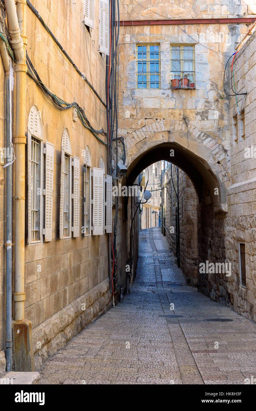 L'ancienne rue de Jérusalem, vieille ville d'Israël. Photo Stock