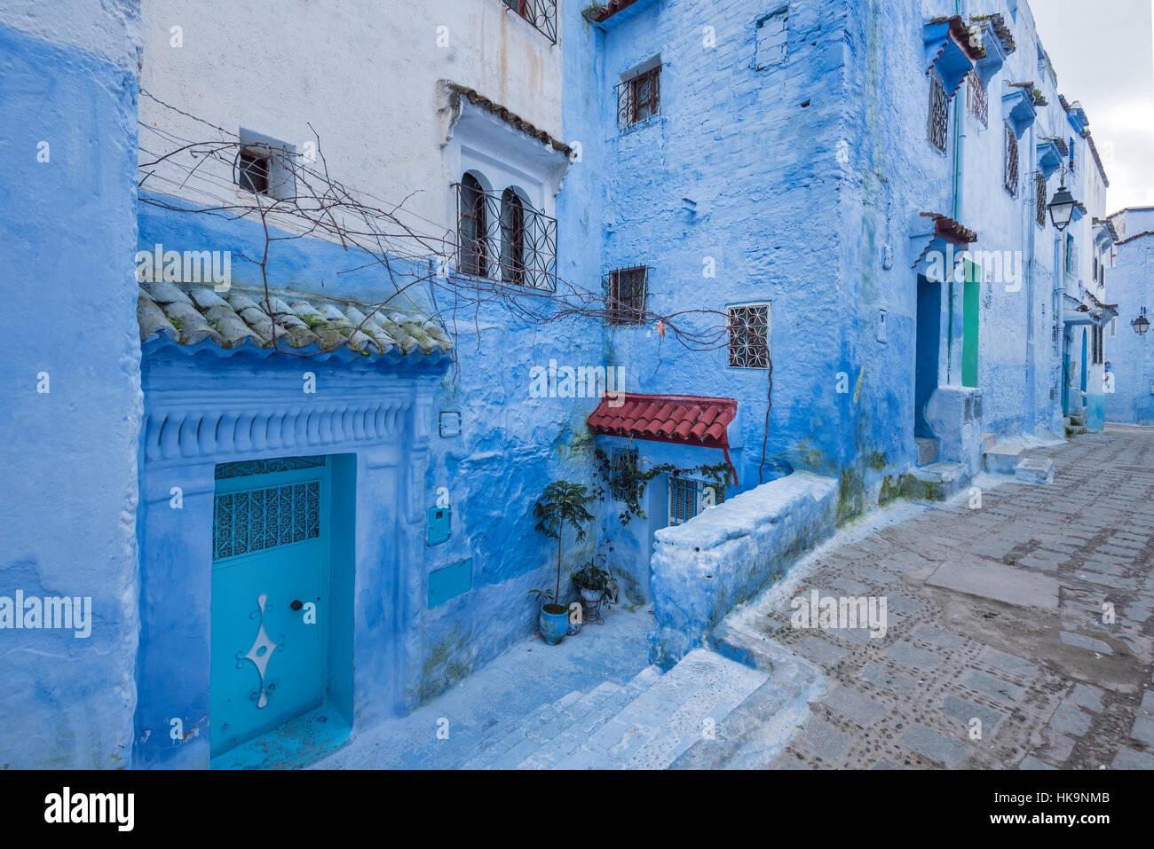 La ville bleue de Chefchaouen au nord du Maroc Banque D'Images