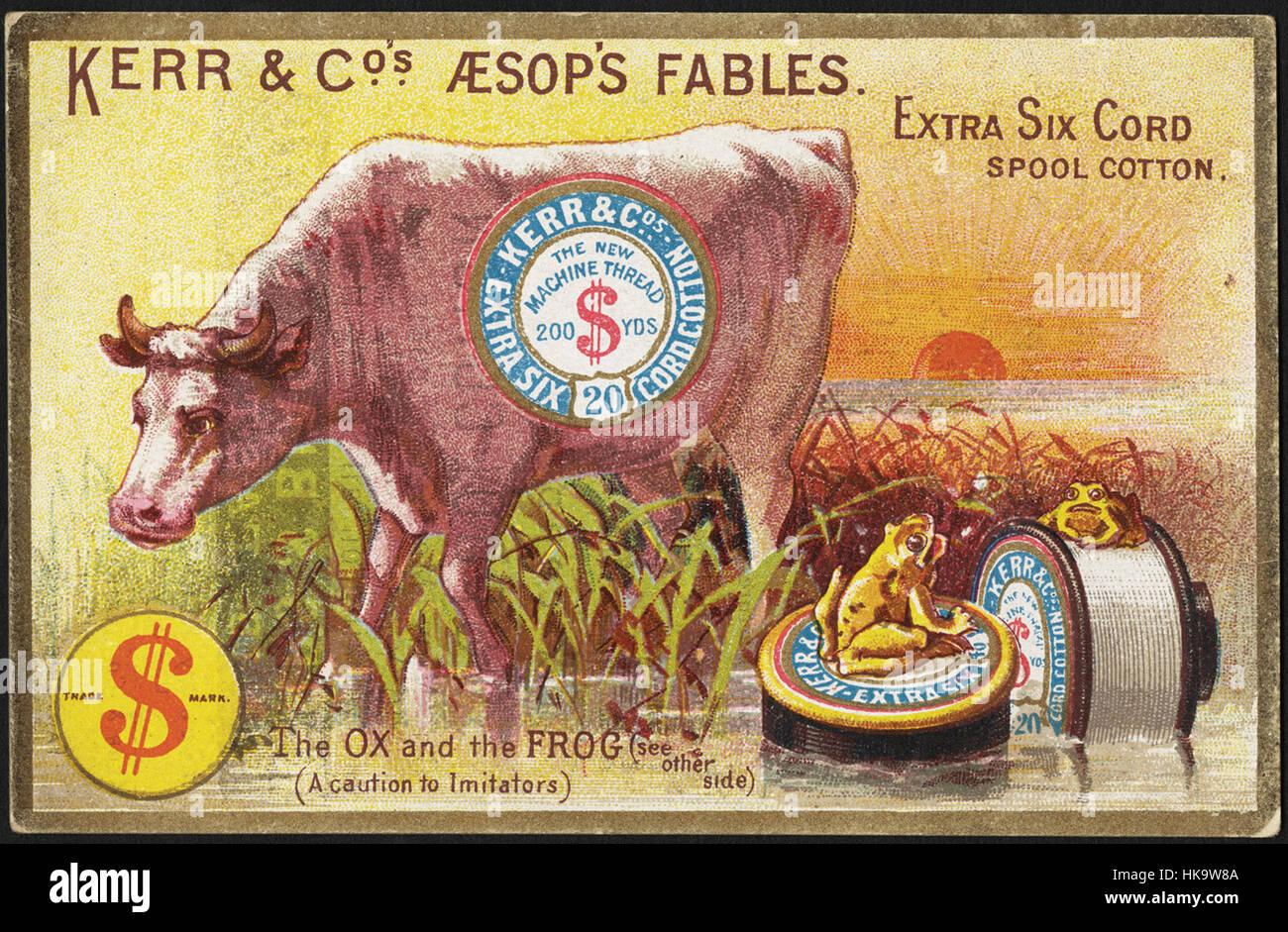 Kerr & Co's fables d'Ésope. Cordon coton extra 6 tiroir. Le boeuf et la grenouille [voir l'autre Photo Stock