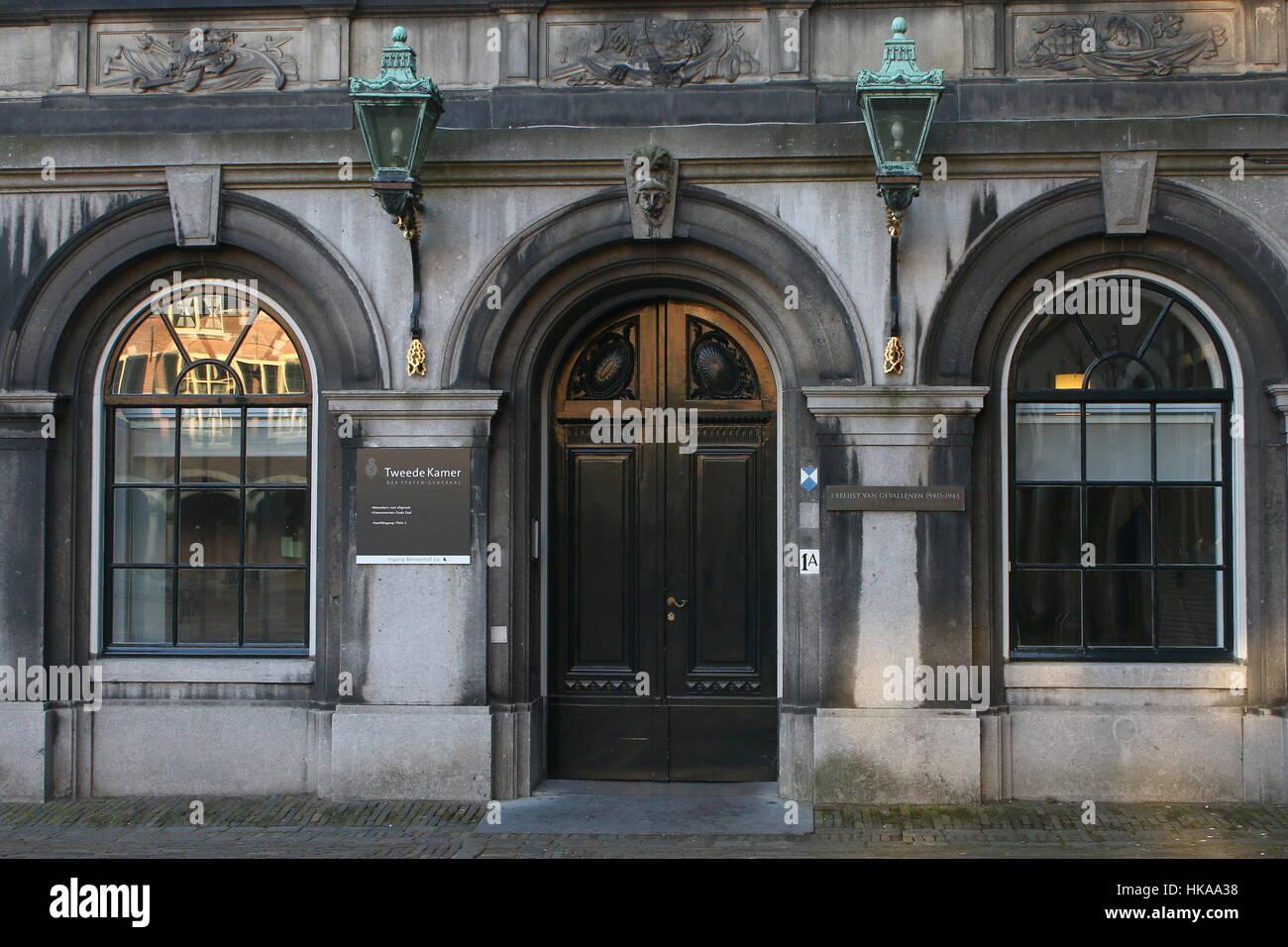 Entrée de la Tweede Kamer (Chambre des représentants), le parlement néerlandais à Binnenhof square, La Haye, Pays-Bas Banque D'Images
