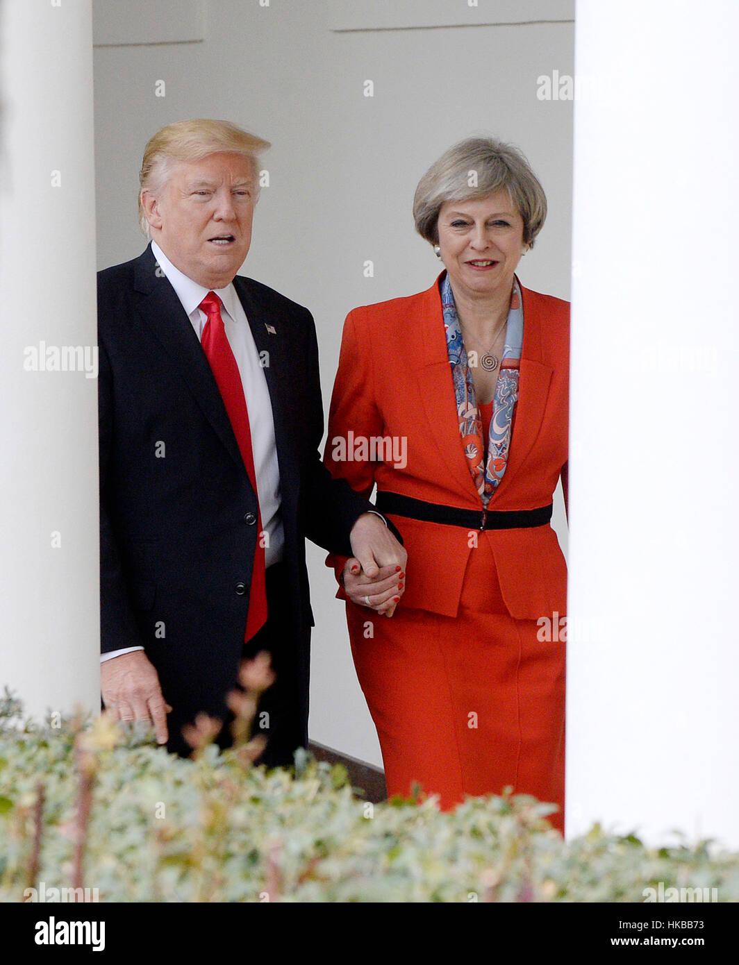 Washington DC, USA. 27 janvier 2017. Le Président des Etats-Unis, Donald Trump et premier ministre Theresa Photo Stock