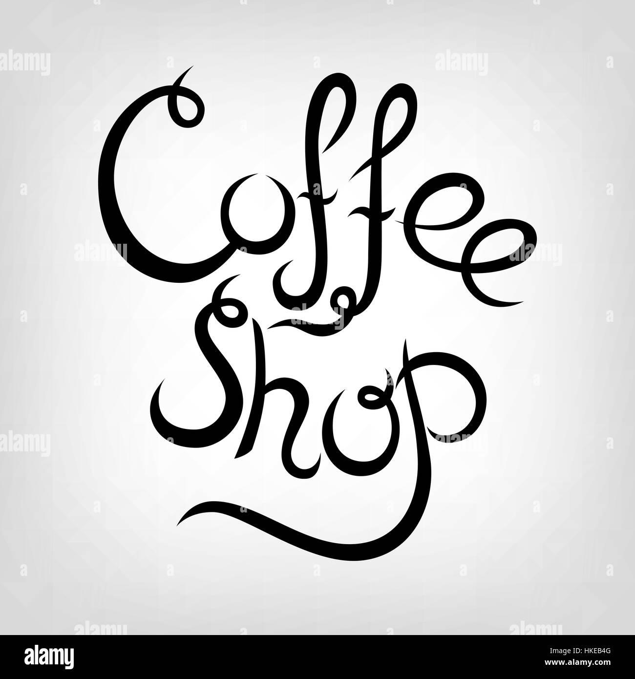 vector lettrage dessiné à la main. coffee shop. la calligraphie
