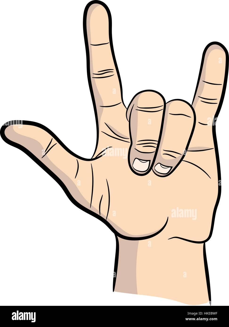 Dans La Main Du Rock N Roll Signe Geste Icon Vecteurs Et