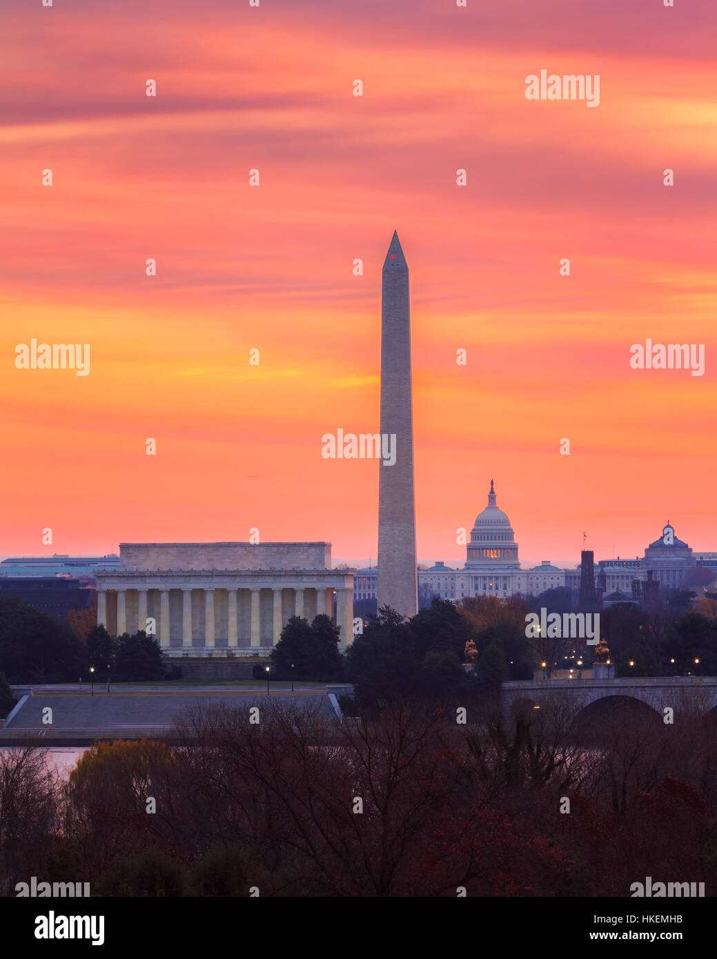 Lever du soleil sur la capitale, Washington, DC Photo Stock