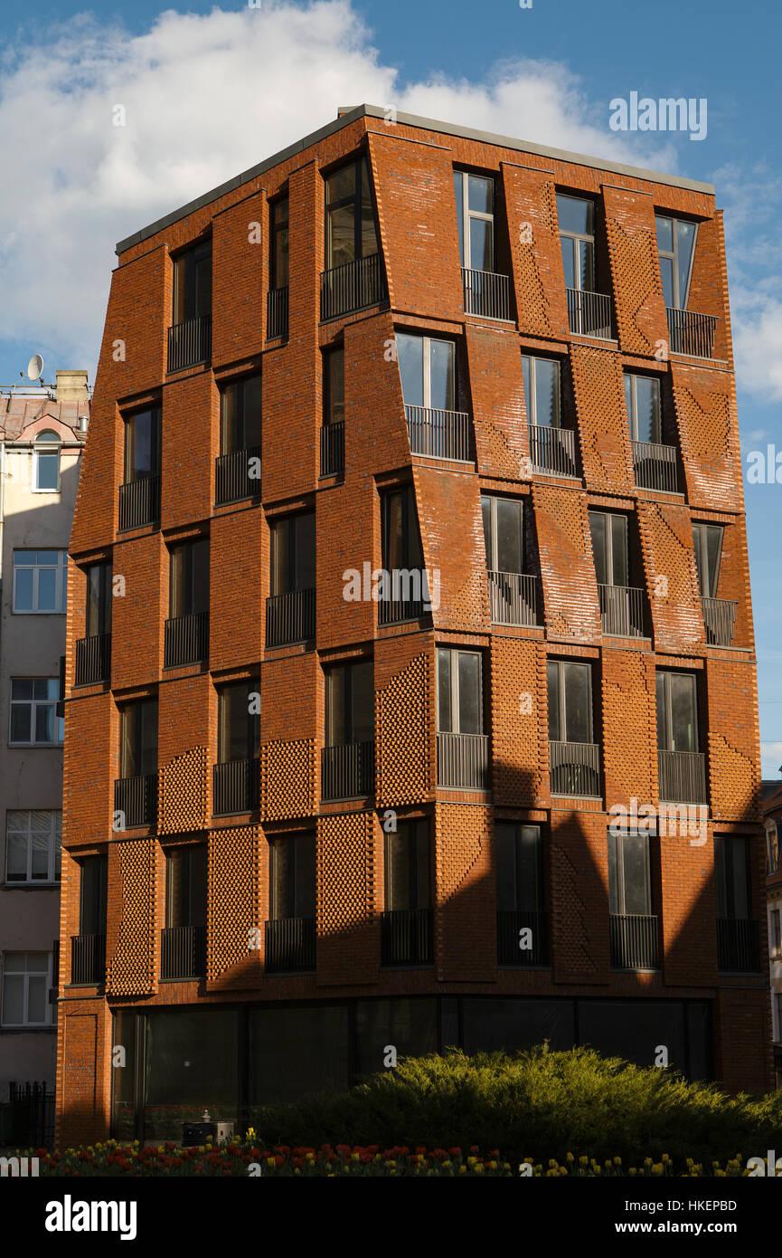 Façade de brique moderne appartement maison, conception ...