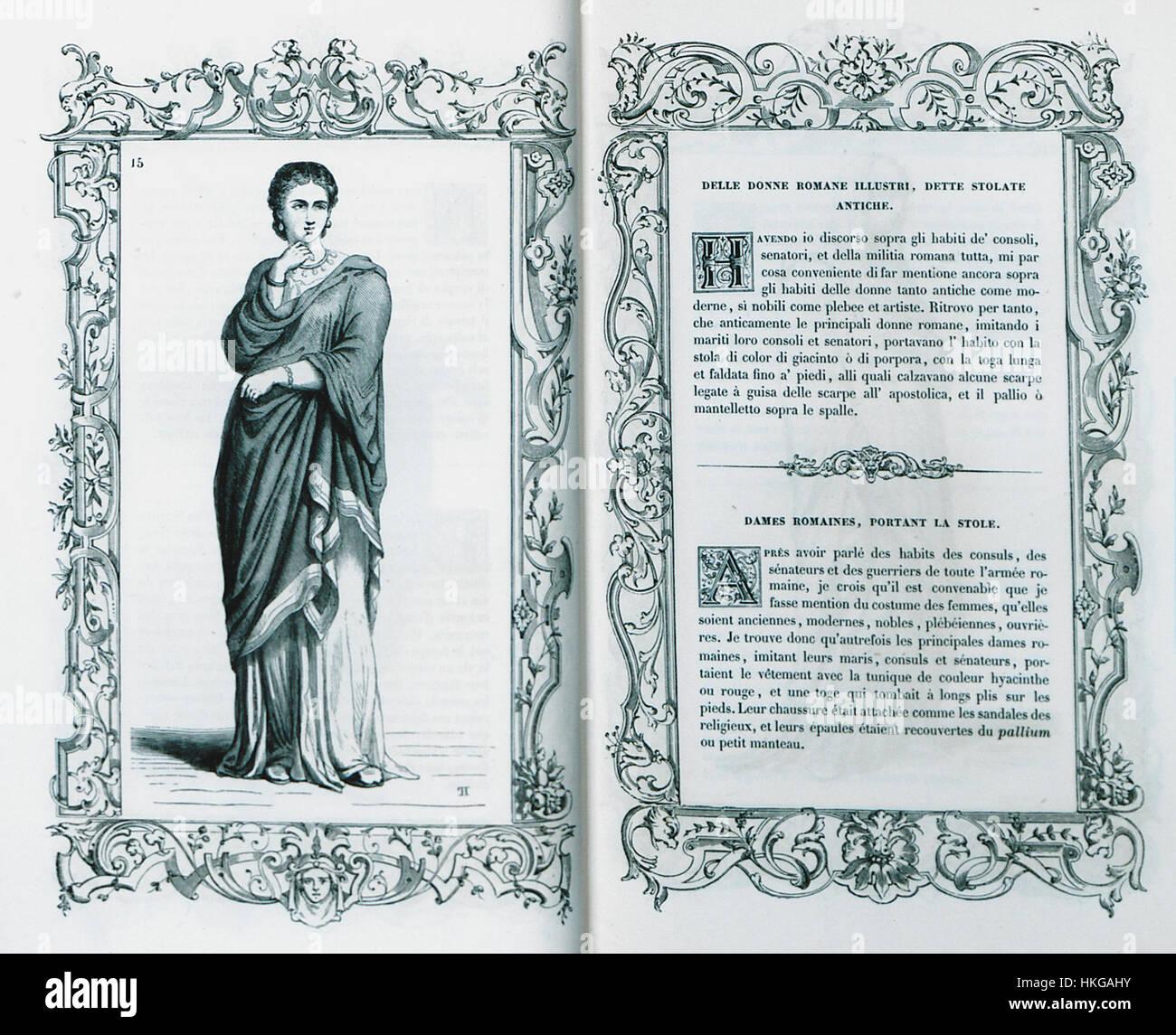 Delle donne romane illustri, stolate sådanne antiche Vecellio Cesare 1860 Photo Stock