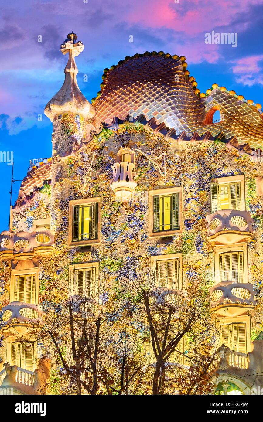 Casa Batllo chambre design par Antonio Gaudi, Barcelone, Catalogne, Espagne Photo Stock