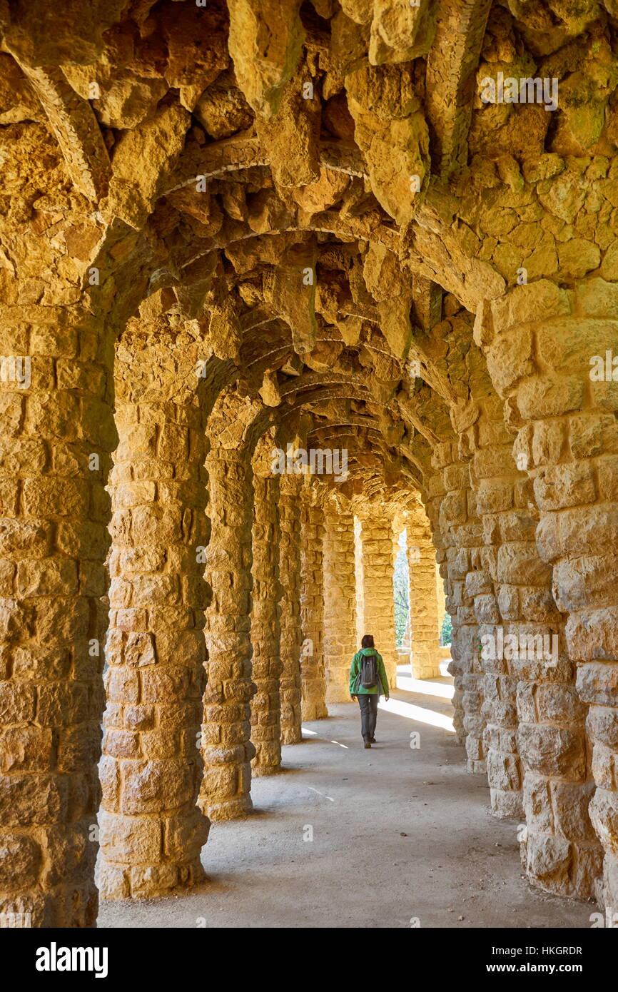 Parc Guell d'Antoni Gaudi, Barcelone, Catalogne, Espagne Photo Stock
