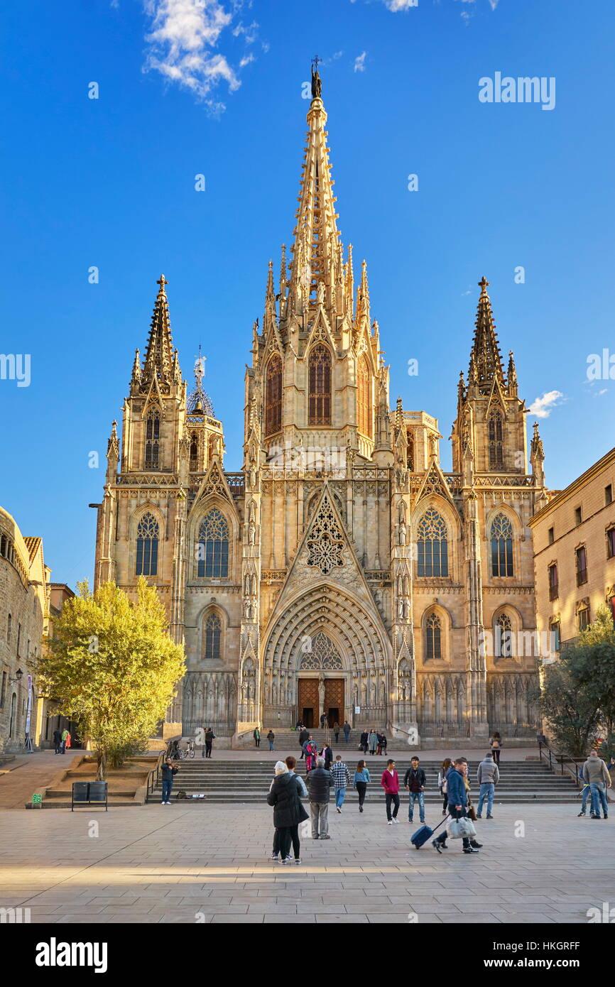 La Cathédrale de Barcelone, Barri Ghotic trimestre, Catalogne, Espagne Photo Stock