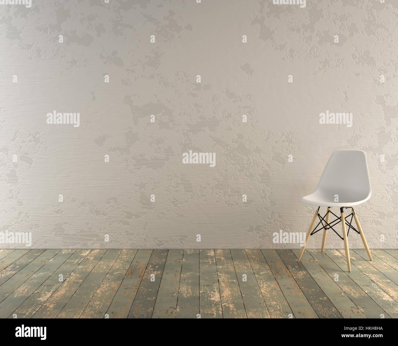 Chaise moderne en chambre loft industriel avec mur blanc Banque D ...