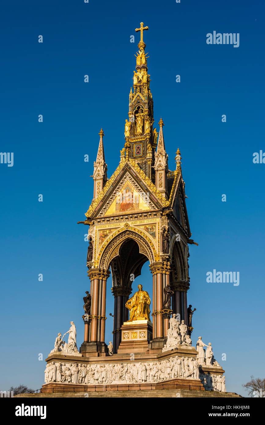 Soleil d'hiver sur l'Albert Memorial, Hyde Park, London, UK Photo Stock