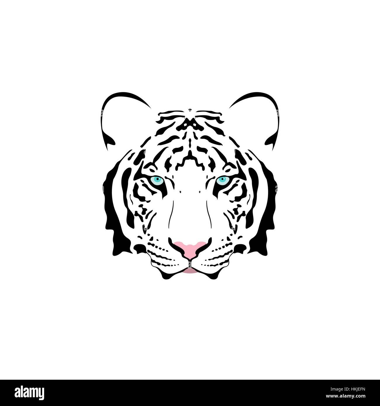 Vector Illustration D Une Tete De Tigre Blanc Avec Des Yeux Bleu