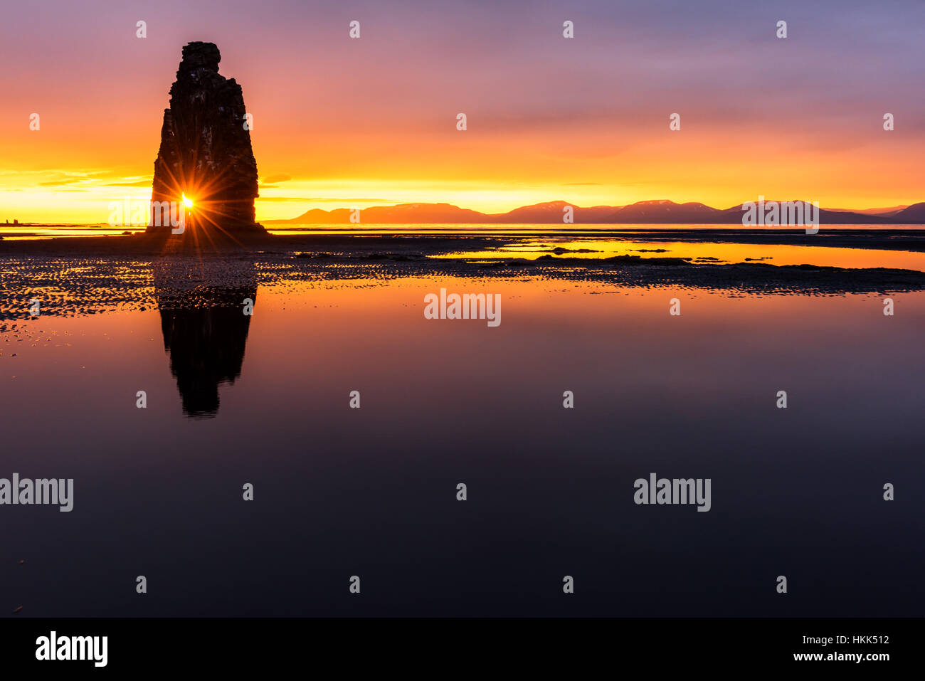 Pile de basalte sur la péninsule de Vatnsnes Hvitserkur, l'Islande, l'Europe. Photo Stock