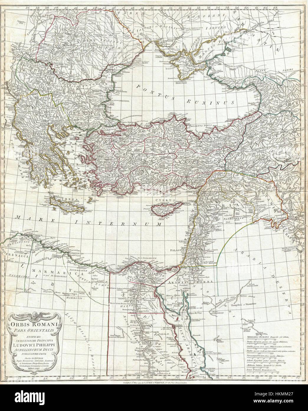 1794 Anville Site de l'Empire romain (inclues) - Grèce - Geographicus-RomanEmpireEast anville-1794 Photo Stock