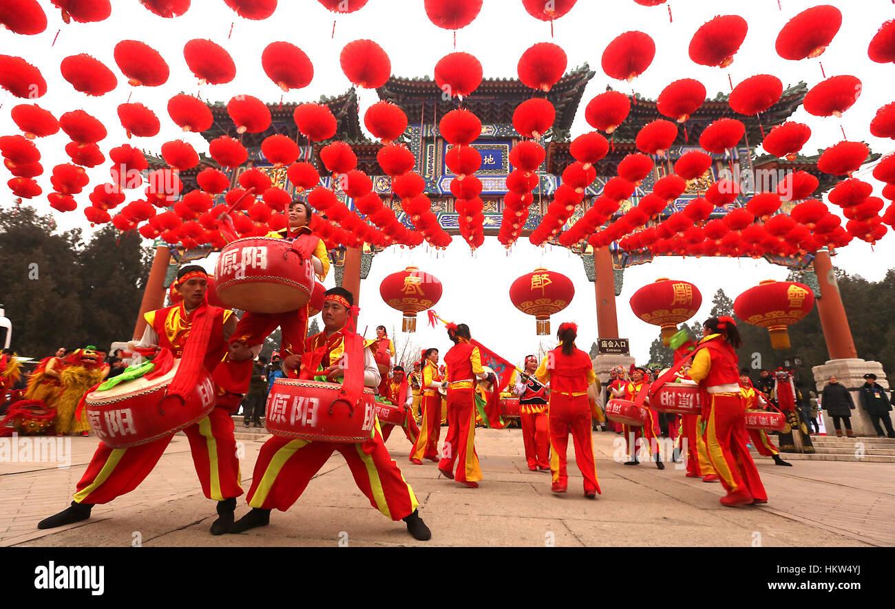28 janvier, 2017 - Beijing, Chine - une troupe de tambour chinois effectue lors d'un événement pour Photo Stock