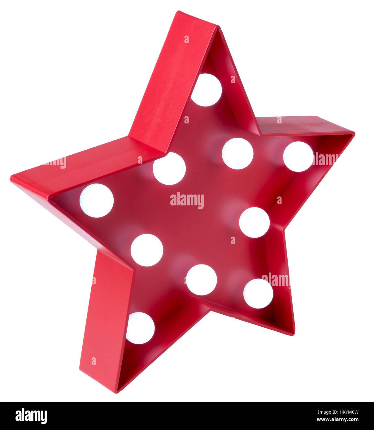 Red star avec ampoules blanc Banque D'Images