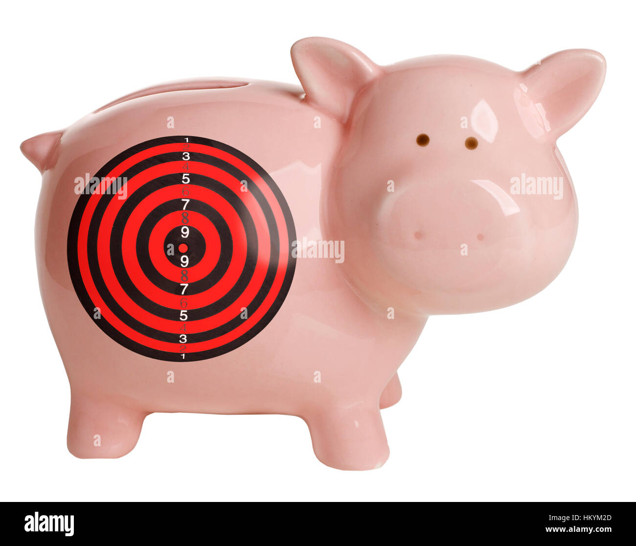 Pink piggy bank with target looking at camera Banque D'Images
