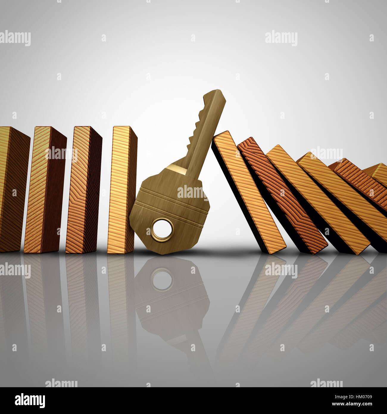 Solution d'affaires clés l'arrêt de l'effet domino ou symbole de sécurité en tant Photo Stock